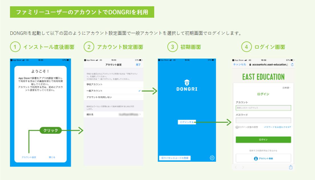 ファミリーユーザアカウントでDONGRIを利用する