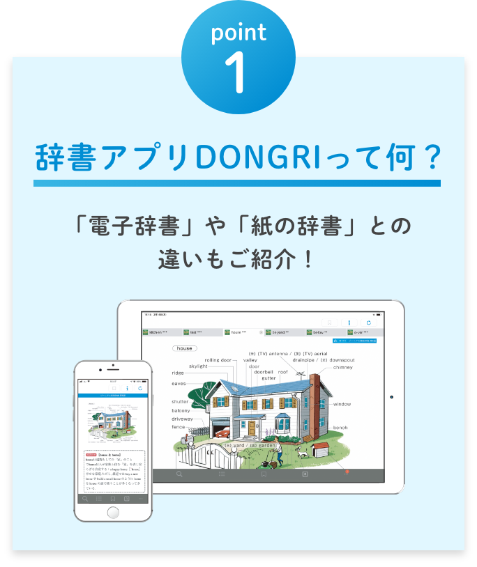 point1 辞書アプリ DONGRIって何?(「電子辞書」や「紙の辞書」との 違いもご紹介!)