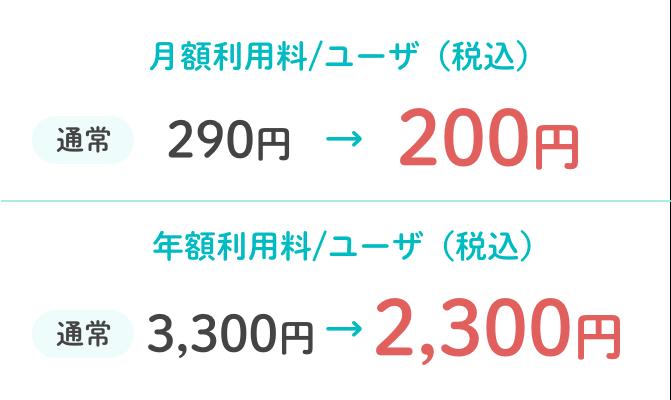 月額利用料/ユーザ(税込):通常290円→200円/年額利用料/ユーザ(税込):通常3,300円→2,300円